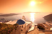 Santorini island with church and sea-view in Greece — Stock Photo