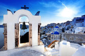 Amazing Santorini with churches and sea view in Greece — Zdjęcie stockowe