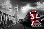 Big ben med färgglada flagga england london — Stockfoto