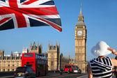 Big Ben with bridge in London, UK — Stock Photo