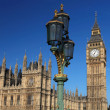 Big Ben with bridge lamp in London, UK - 图库照片