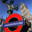 Big Ben with underground logo in London, UK — Stock Photo