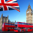 Stock Photo: Big Ben with red double-decker in London, UK