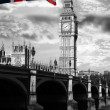Big Ben with colorful flag of England in London — Stock Photo #10801900