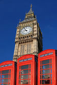 Big Ben with phone boxes, London, UK — Stock Photo
