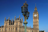 Big Ben with bridge lamp in London, UK — Stock Photo