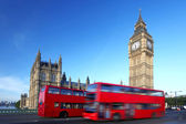 Big ben con doble decker, londres, reino unido — Foto de Stock