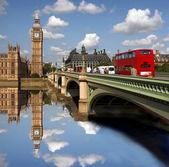 Big bena z double decker, londyn, wielka brytania — Zdjęcie stockowe