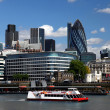 Modern London cityscape with boat, LONDON, UK — Stock Photo #10925456