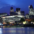 Modern London cityscape with boat, LONDON, UK — Stock Photo