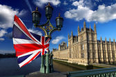 Big Ben with flag of England, London, UK — Stock Photo
