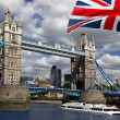 London Tower Bridge with flag of England — Stock Photo #10986730
