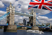 London Tower Bridge with flag of England — Stock Photo