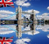 London Tower Bridge with flag of England — Stock Photo