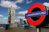 Underground logo in London, UK — Foto de Stock