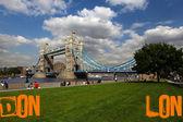 London Tower Bridge with words — Stock Photo