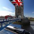 London Tower Bridge with flag of England — Stockfoto