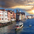 Venice with Grand Canal and water bus in Italy — Stock Photo