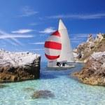Luxury yacht in azure bay — Stock Photo #11150636