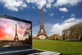Spring morning with Eiffel Tower and laptop, Paris, France — Stock Photo