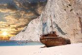 Navagio beach wrak statku w zakynthos, Grecja — Zdjęcie stockowe