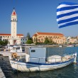 Zakynthos town with main church and with harbor in Greece — Stock Photo