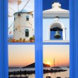 Greek window with summer concept — Stock Photo