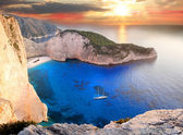Navagio beach with shipwreck in Zakynthos Island — Stock Photo