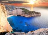 Navagio beach with shipwreck in Zakynthos Island — Stock Photo