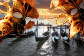 Venice with Carnival mask against Doge Palace, Italy — Stock Photo