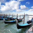 Stock Photo: Gondolas in the evening, Venice, Italy