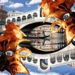 Venice, Rialto bridge with gondola in Italy — Stock Photo #11520959