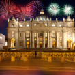 Basilicdi SPietro, Vatican, firework, new year, Rome, Italy — Stock Photo #11790587