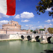 Castle  Saint Angelo with bridge in  Rome - Stock Photo