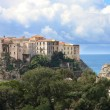 Italy, Calabria, Old town Tropea on the rock - Stock Photo