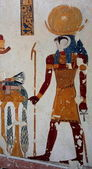 Egypt.Luxor. Valley of kings wall paintings — Stock Photo