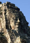 Smiling face of Jayavarman VII in the temple of Bayon, Angkor, Siem Riep, Cambodia. — Stock Photo
