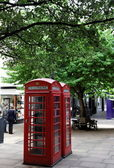 Red phone booths. Central London. UK. — Stock Photo