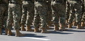 Soldiers in boots. Tbilisi. Georgia. — Stock Photo