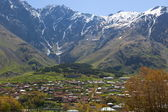 Caucasus Mountains. Stepantsminda village. Georgia. — Stock Photo