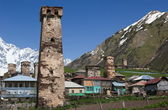 Traditional svan Protective Towers and houses in Ushguli Village. Svaneti. Georgia. — Stock Photo