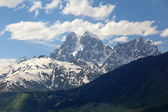 View of Double peaks of Mt. Ushba. Near Mulakhi Village. Upper Svaneti. Georgia. — Stock Photo