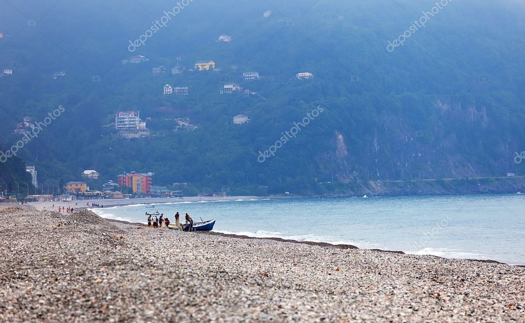 Fishermen checking their gear. Gonio. Georgia. — Stock Photo #10799068