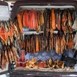 Smocked fish for sale from back of a van. Smolensk highway. Russ — Foto de Stock