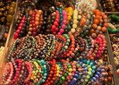 Assortment of colourful bracelets on Cat Street Market stand. Hong Kong — Stock Photo