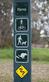 Sign on park regulations, restriction and warnings. Melbourne. Australia. — Stock Photo