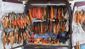 Smocked fish for sale from back of a van. Smolensk highway. Russ — Stock Photo