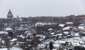 住宅とクレムリンの壁。冬。スモレンスク。ロシア. — ストック写真