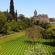 Striped lawn of Princess Gardens. Edinburgh. Scotland. UK. - Stock Photo