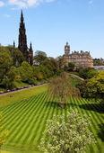 Striped lawn of Princess Gardens. Edinburgh. Scotland. UK. — Stock Photo